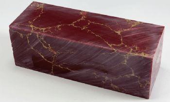 Red with Gold Matrix Tru-stone Block 1.4